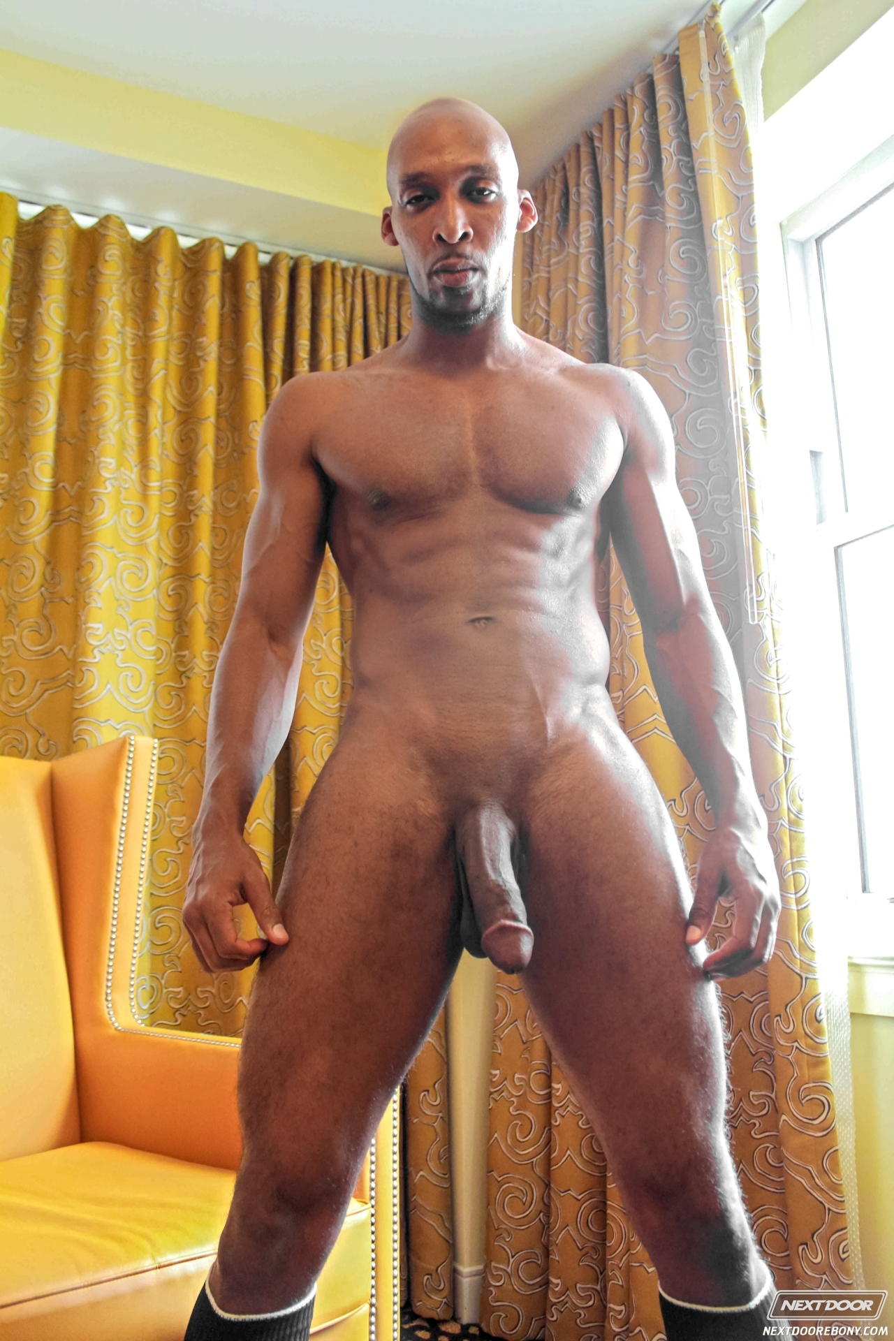 Muscular Black Guy Masturbates